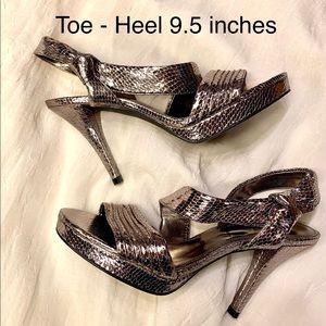 Women's Nine West Silver Strap 4 inch heels-8